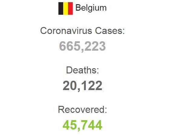 Статистика заболеваемости коронавирусом в Бельгии.
