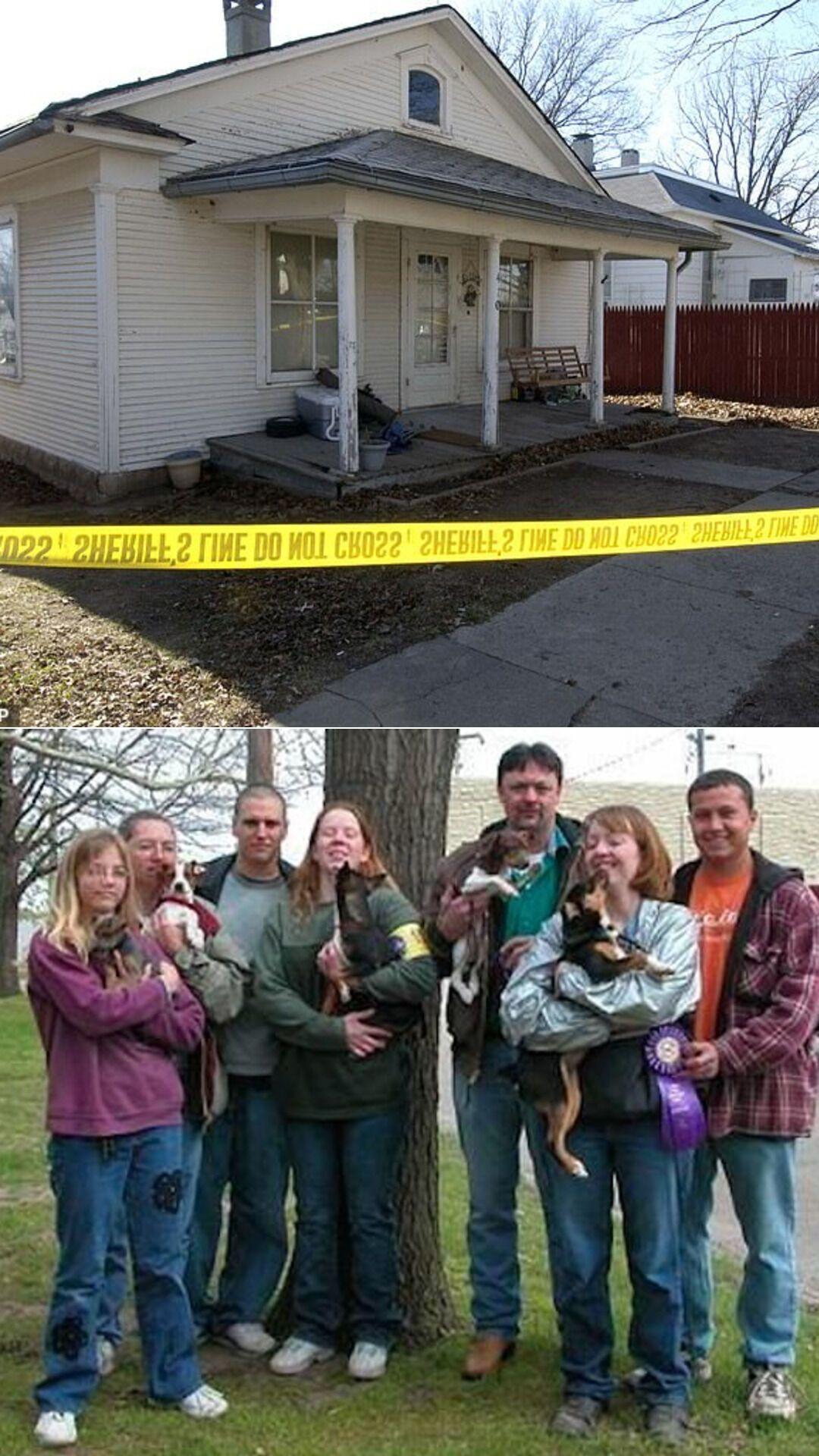 Будинок у місті Скідмор, де Ліза Монтгомері вбила 23-річну Боббі Джо Стіннетт; Монтгомері (друга зліва), Боббі Джо (друга праворуч) і її чоловік Зеб Стіннетт (крайній праворуч)