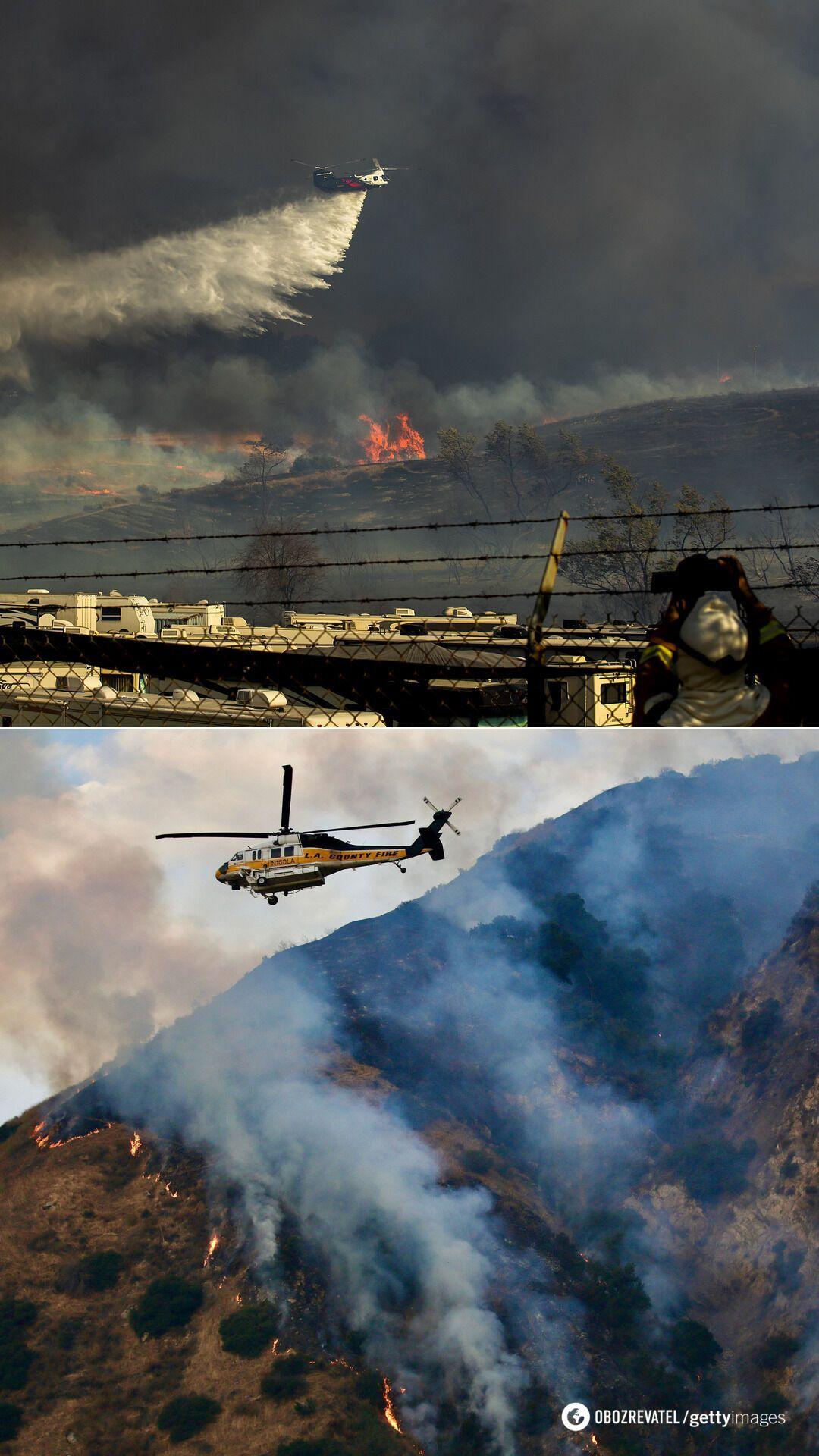 Тушения пожара в районе калифорнийского каньона Сан-Димас, ноябрь 2020-го