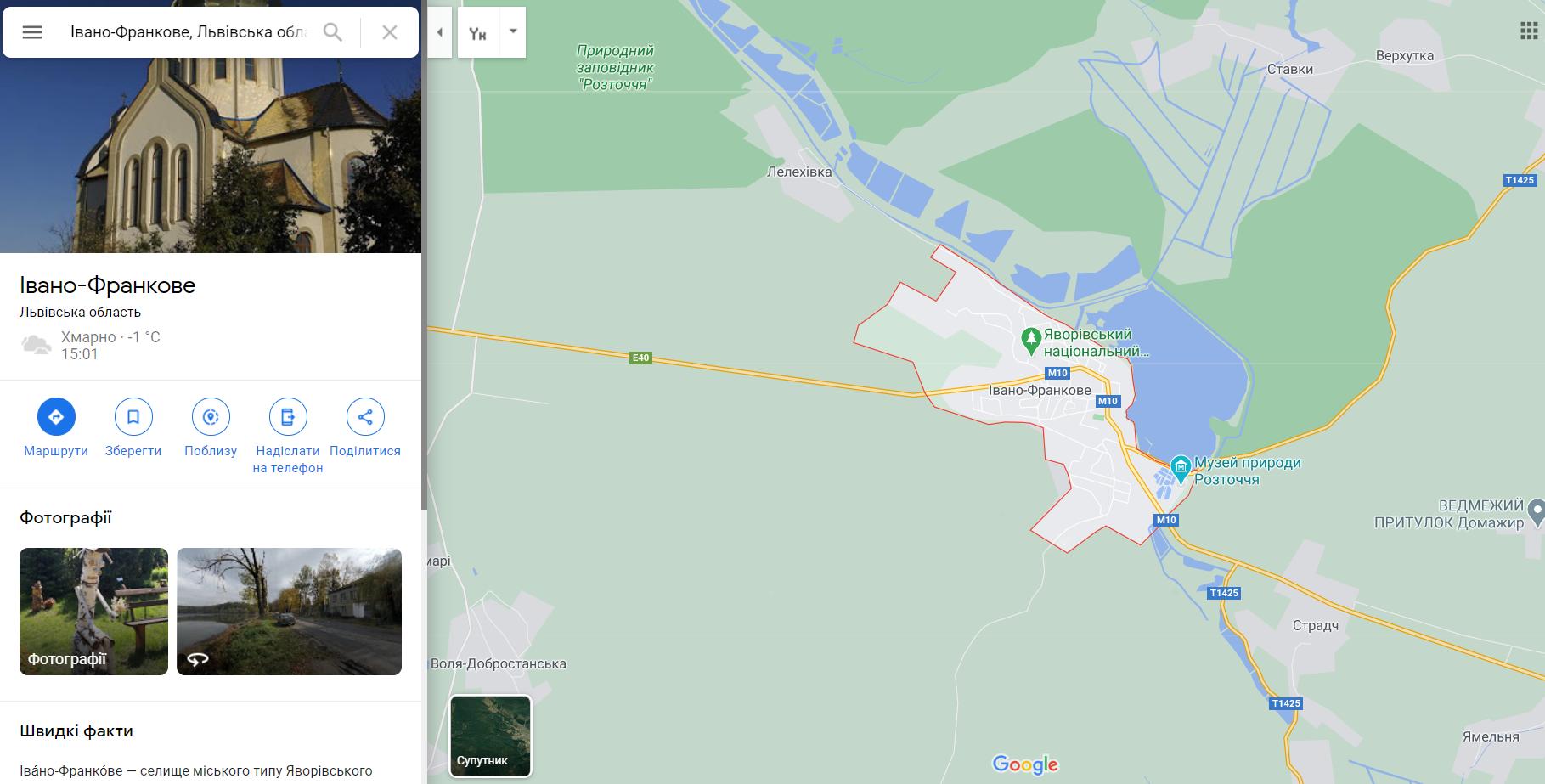 Івано-Франкове на мапі Львівщини