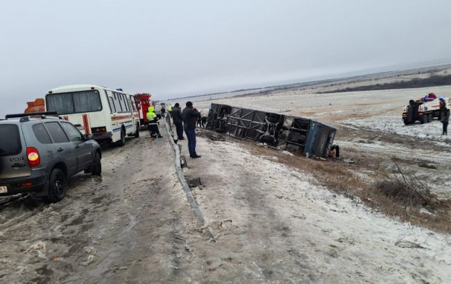 Прервернулся автобус с украинцами