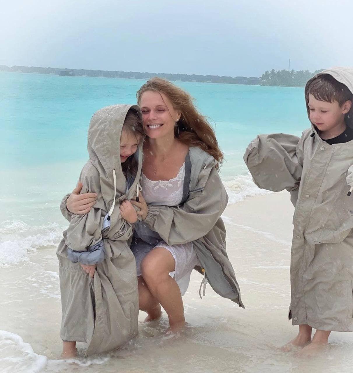 Оля Фреймут на Мальдивах с семьей