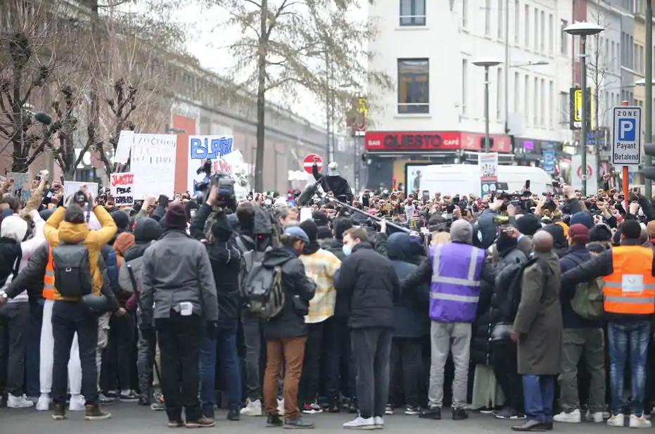 Протест в Брюсселе днем 13 января