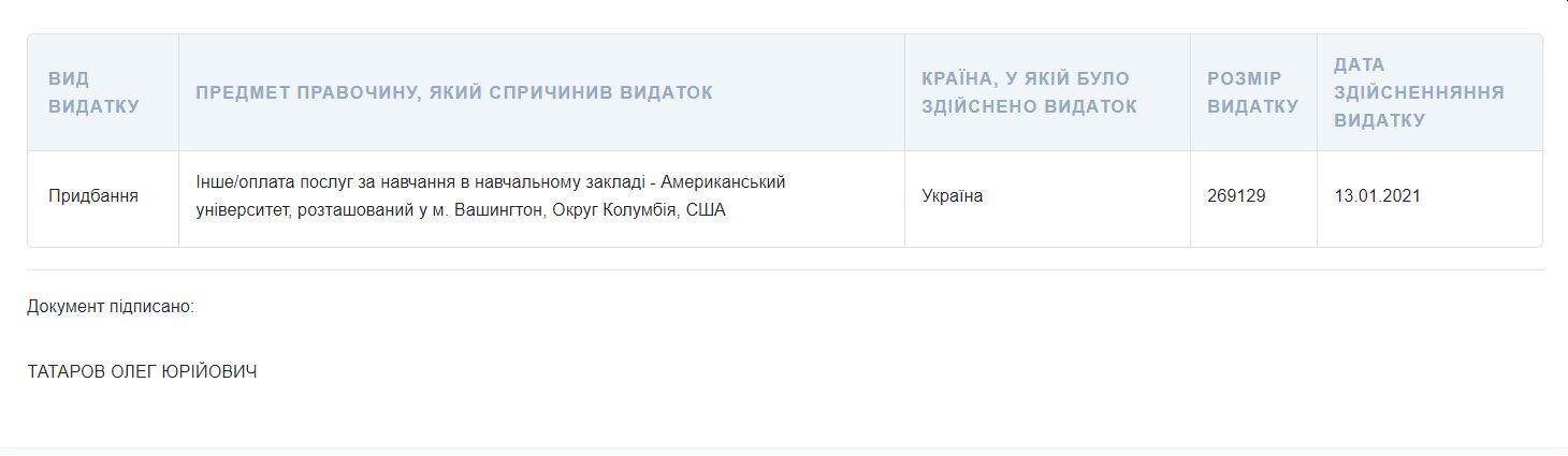 Скриншот декларації