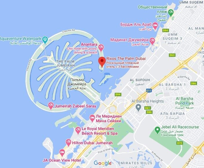 Расположение Rixos The Palm Dubai.