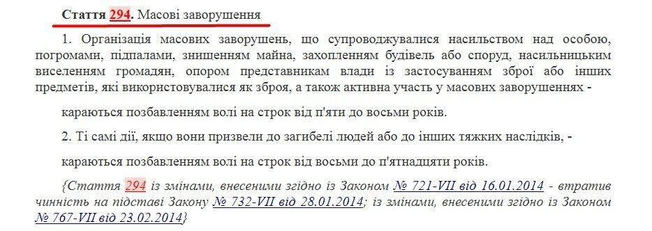 Статья 294 УК Украины о массовых протестах