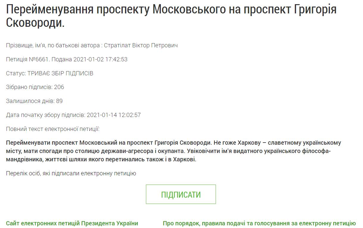 Петиция о переименовании проспекта Московского на Григория Сковороды