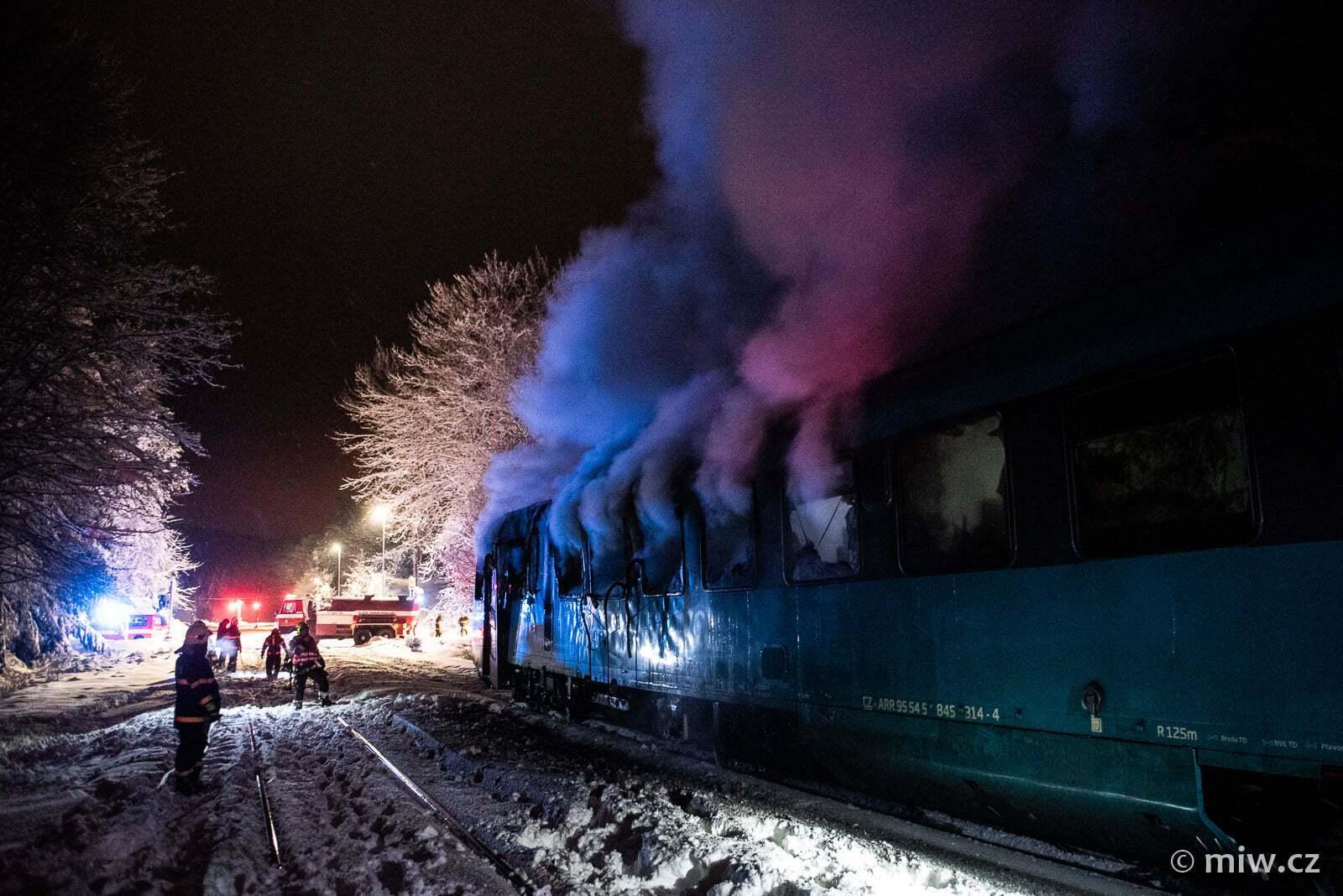 В Чехии горел поезд
