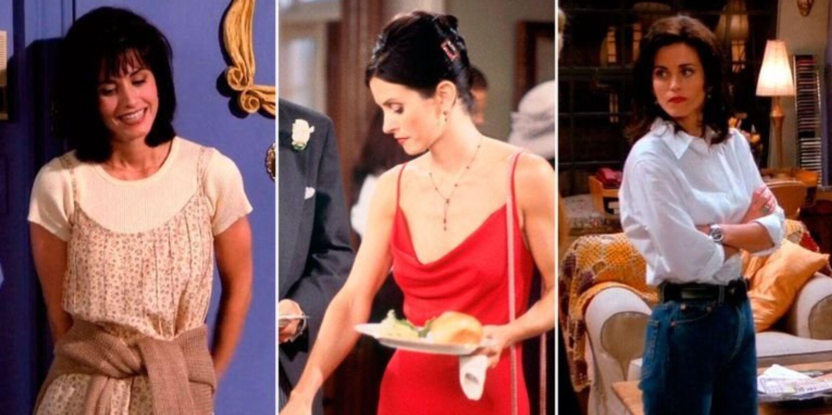 Трендовые сейчас сочетания сарафана с футболкой, белой рубашки оверсайз с джинсами и шелковые платья на примере Моники