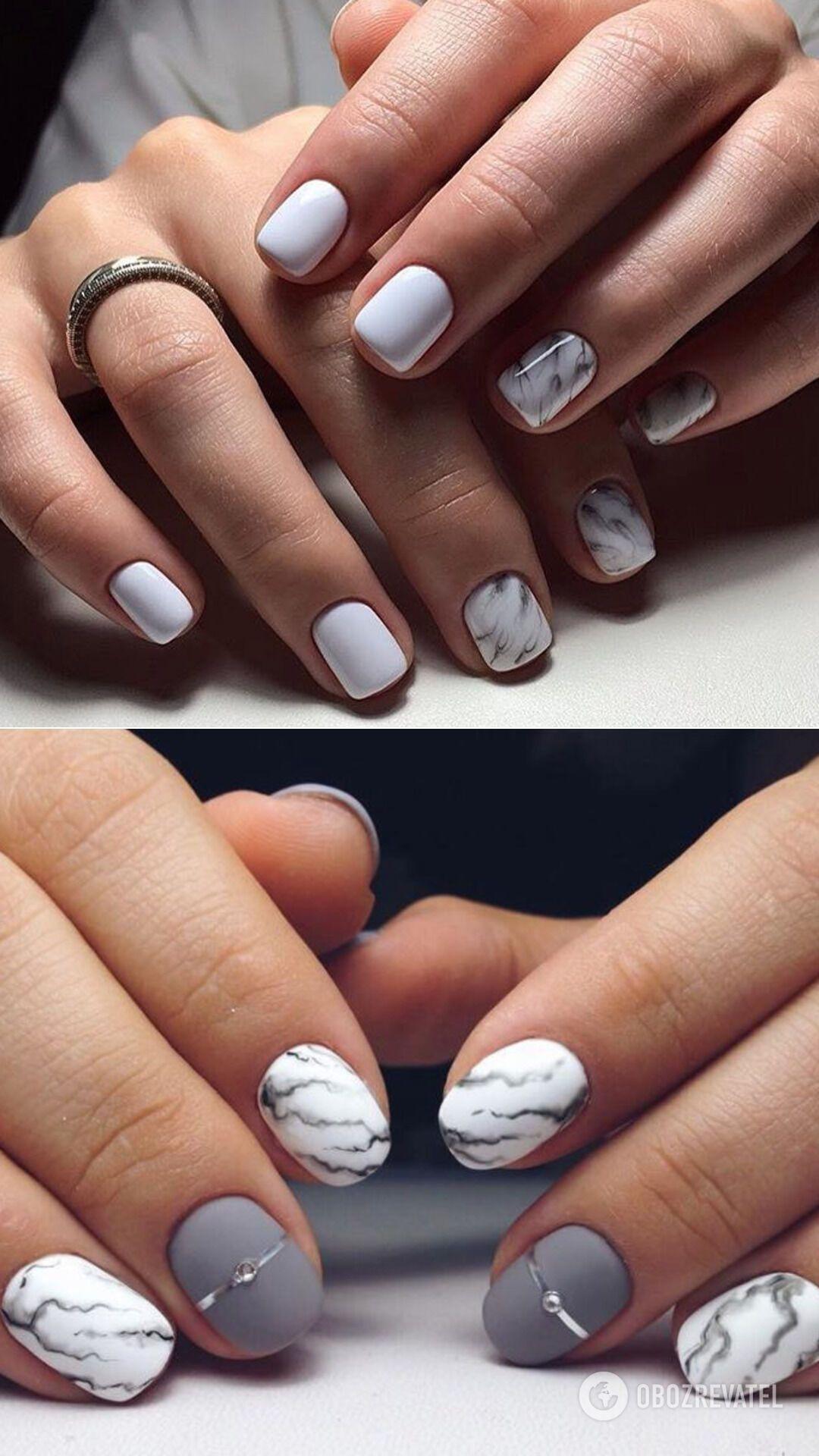 Эффект камня на коротких ногтях