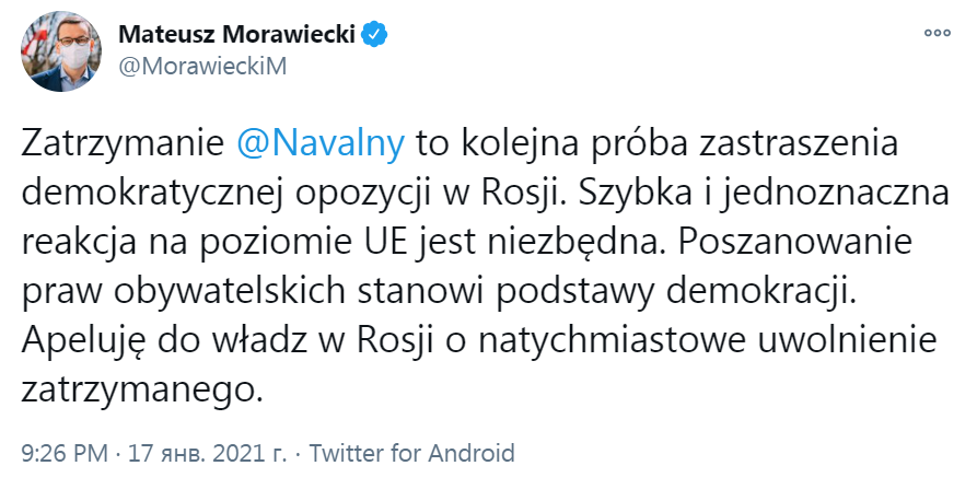 Польща проти затримання навального