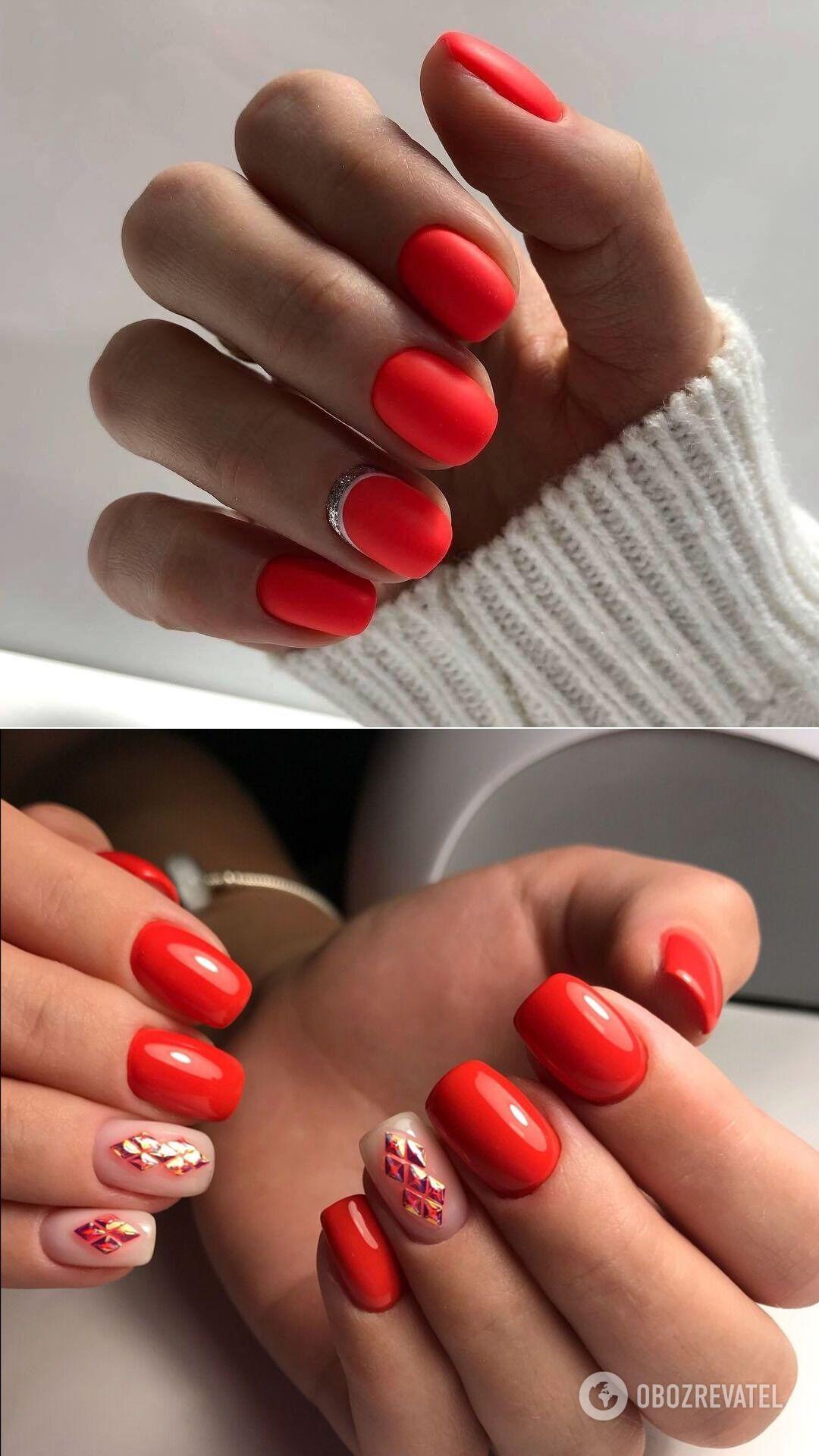 Как выглядит зимний маникюр красного цвета