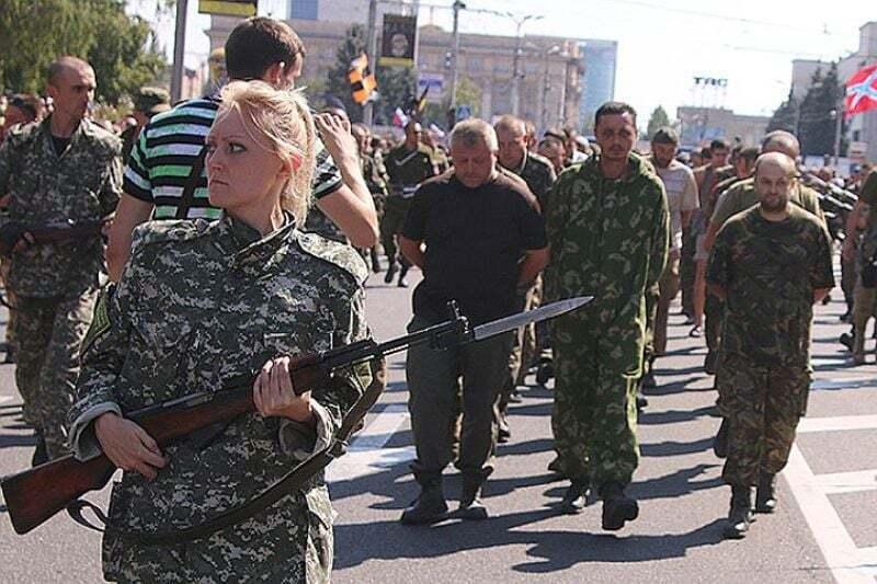 Пророссийская сепаратистка, которая в 2014 году конвоировала пленных украинцев в Донецке