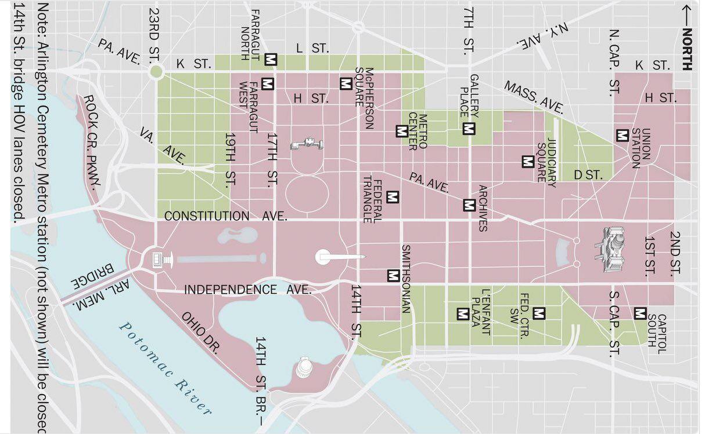 Карта місць перекриття у Вашингтоні через інавгурацію Байдена