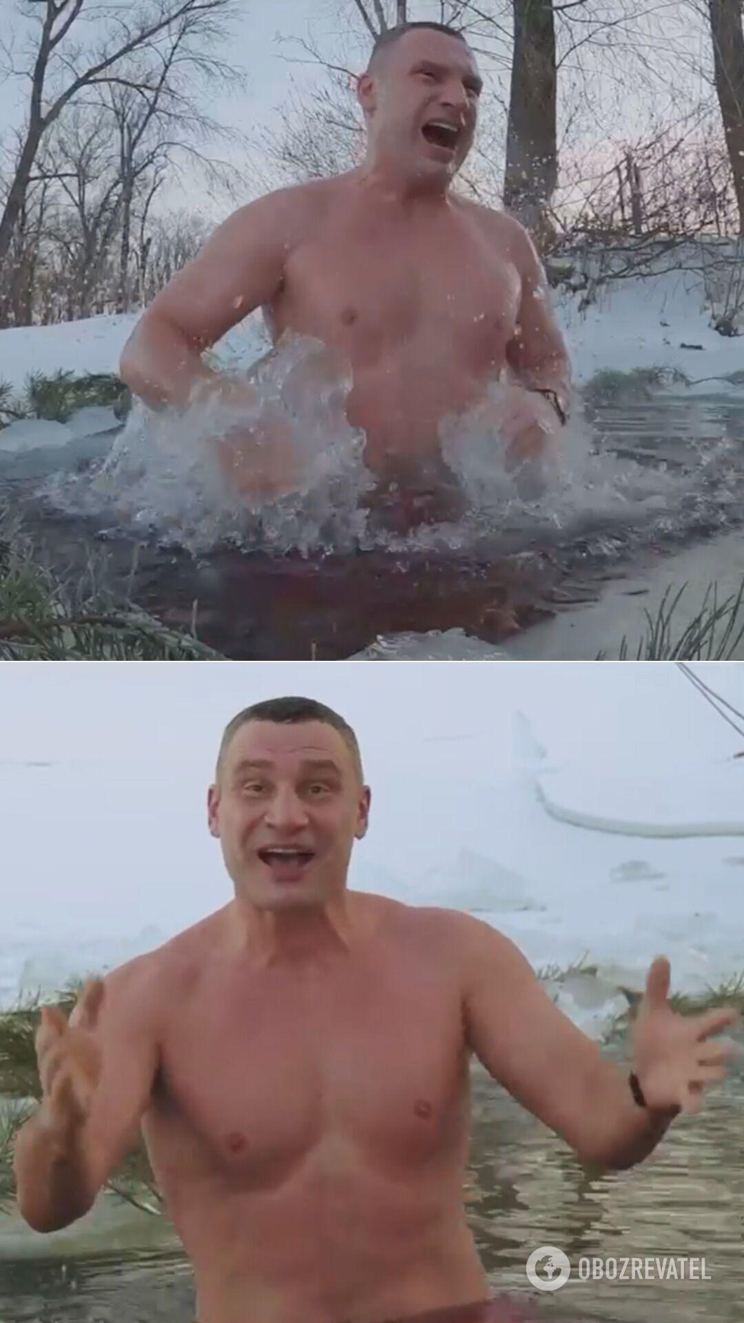 Кличко пірнув у ополонку в затоці біля парку Дружби народів у Києві