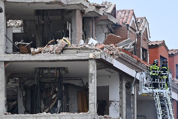 Разрушенное здание в Мадриде
