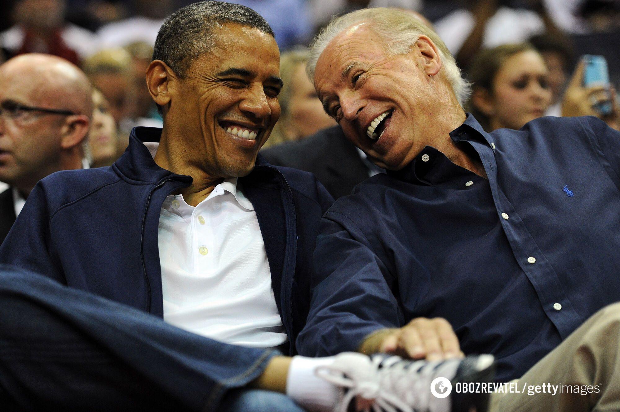 Барак Обама і Джо Байден на баскетбольному матчі. 2012 рік.