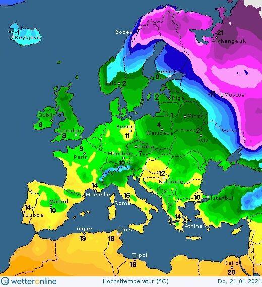 Карта погоды в Украине на 21 января.