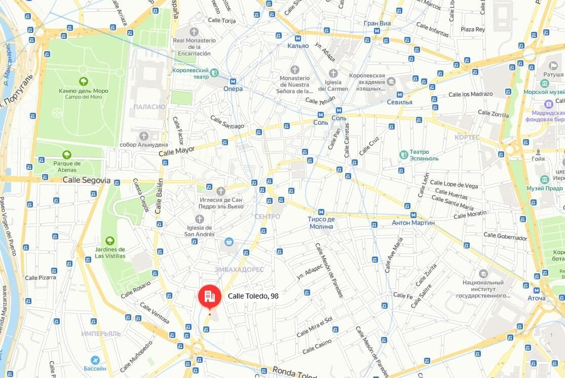 Место инцидента на карте Мадрида