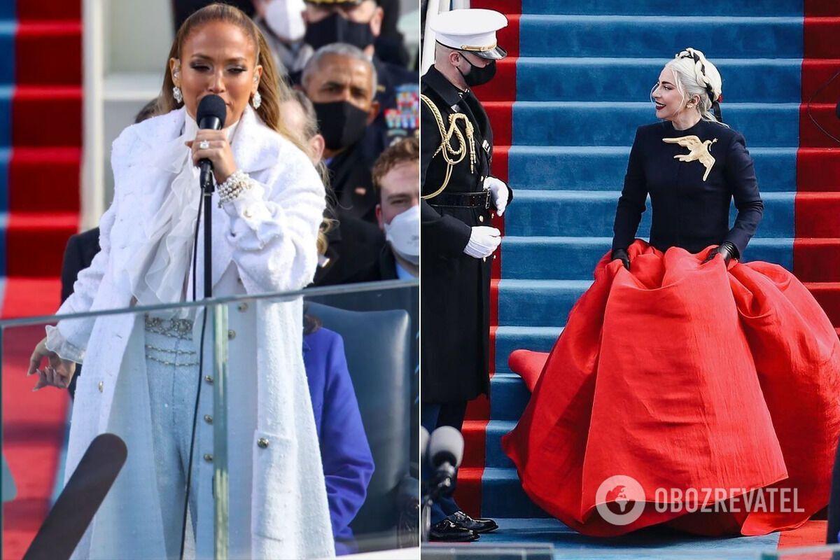 Дженнифер Лопес и Леди Гага на инаугурации Байдена