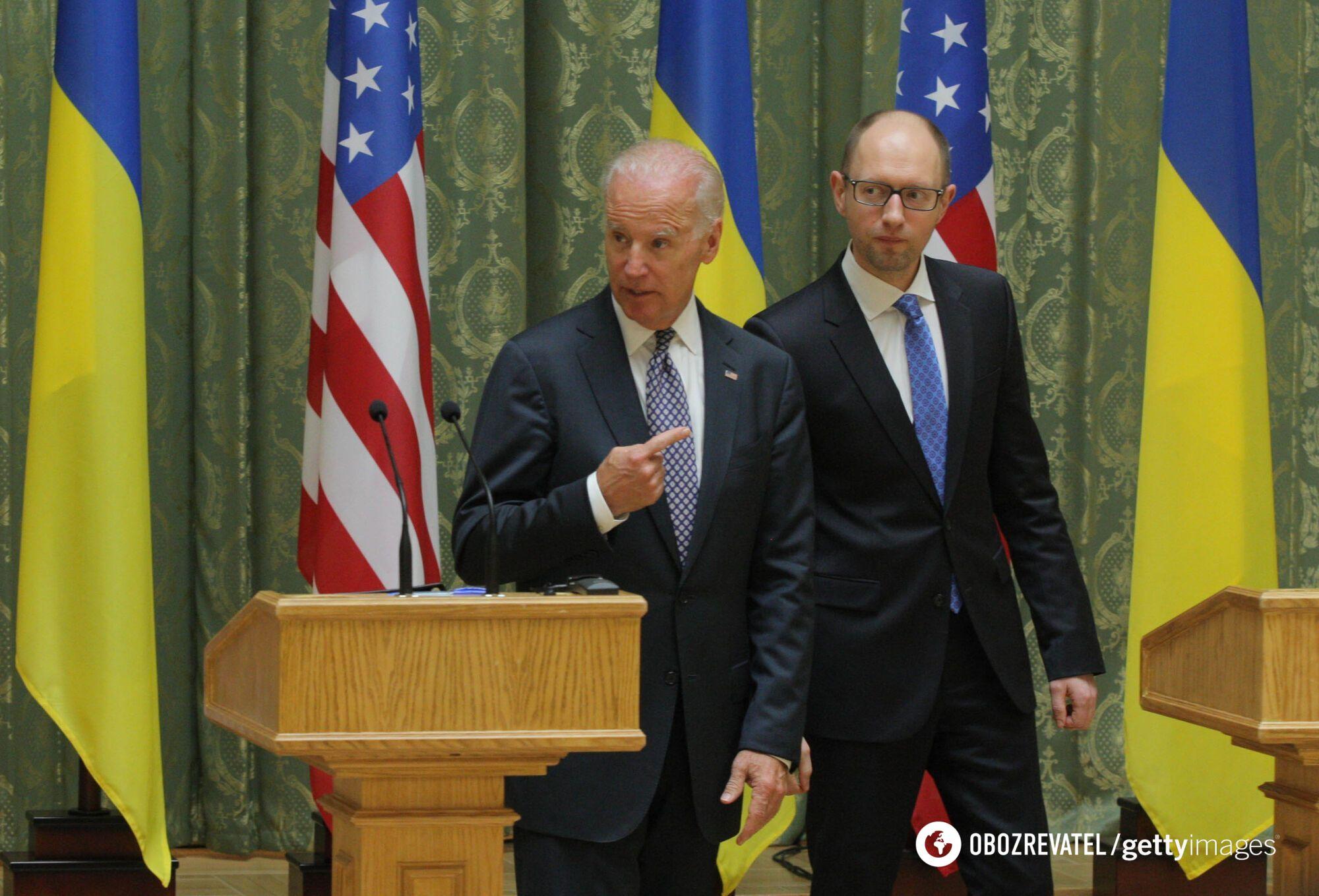 Байден і Яценюк під час зустрічі в Києві