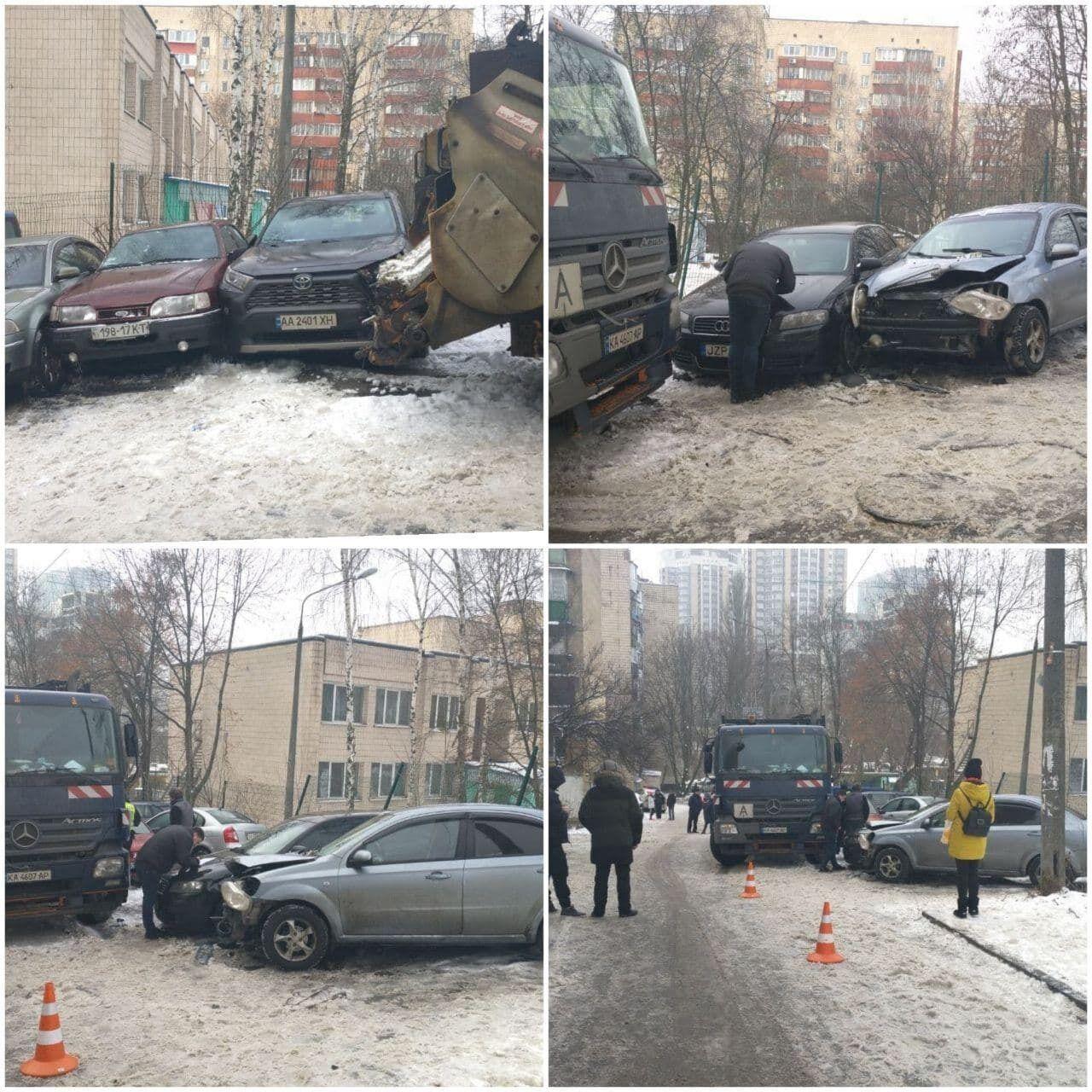 Сміттєвоз розбив 9 автомобілів.