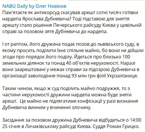 Публікація журналіста щодо Дубневича