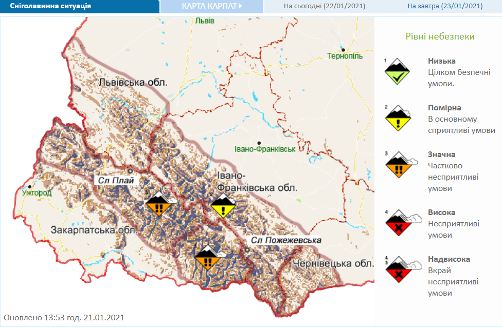 Снеголавинная опасность в Закарпатье