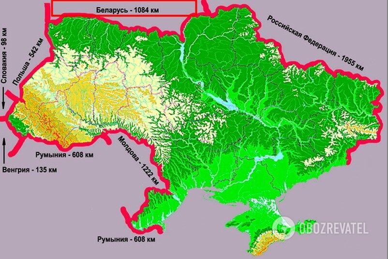 Протяжність українсько-білоруського кордону становить 1084 км