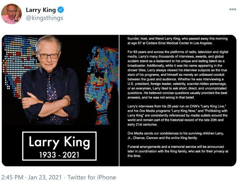 Ларри Кинг ушел из жизни