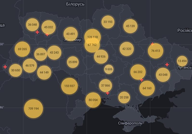 Распространение коронавируса в областях Украины