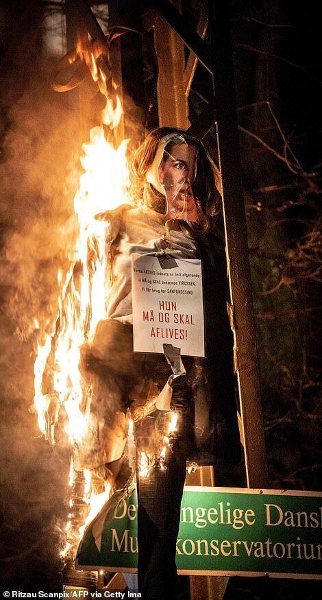 У Копенгагені демонстранти спалили манекен прем'єра