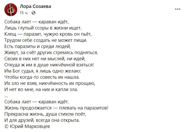 Ексдружина артиста відповіла віршем Юрія Марковцева