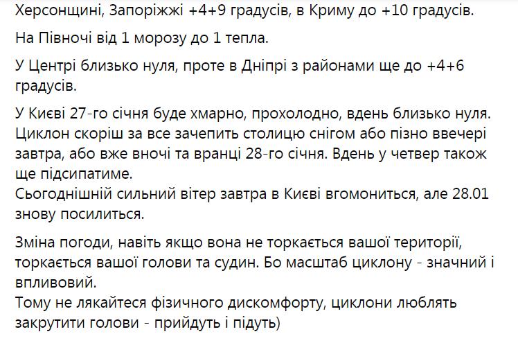 Прогноз погоды в Украине на 27 января.