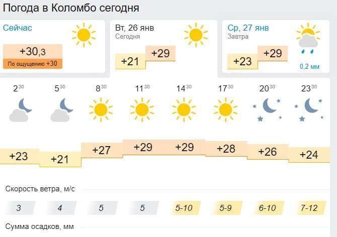 Погода в Коломбо