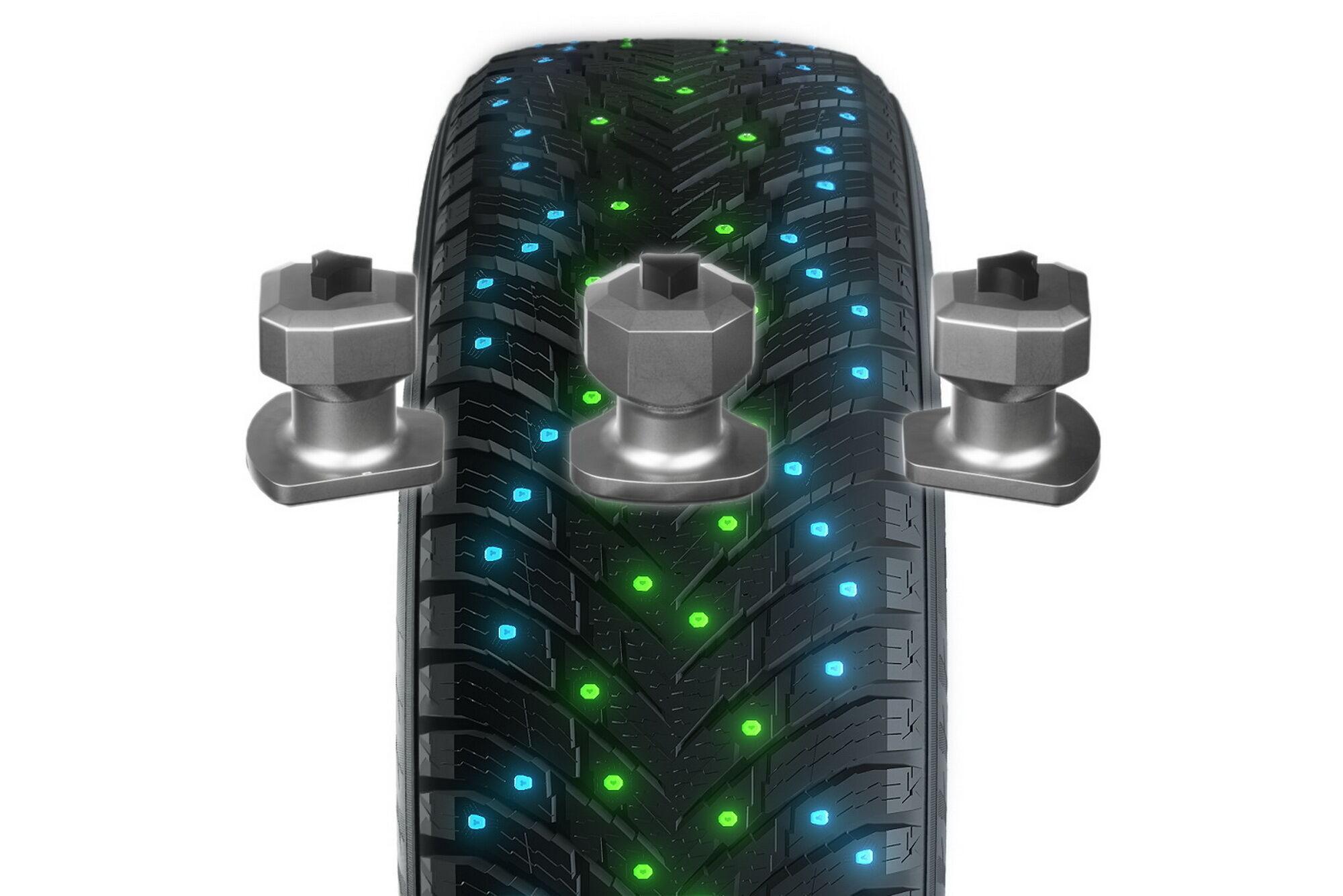 Использование двух разных типов шипов позволяет значительно улучшить поведение шины в различных дорожных условиях