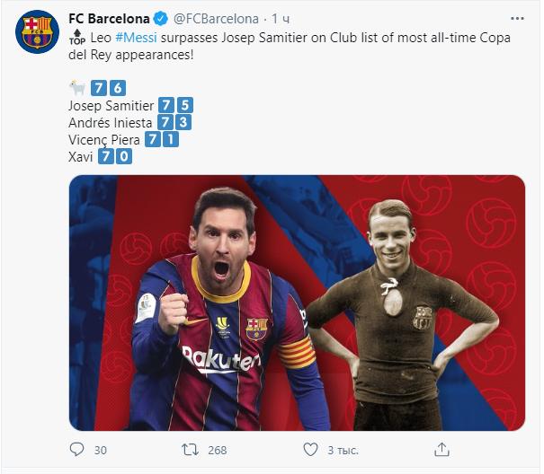 Месси вошел в историю Барселоны