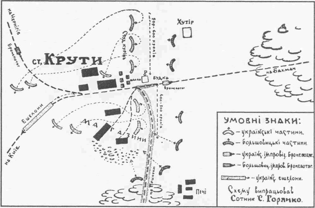 """Після битви біля станції """"Бахмач"""" 24-27 січня 1918 року українці були змушені відступити до станції """"Крути"""""""
