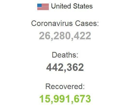 Статистика заболеваемости COVID-19 в США.
