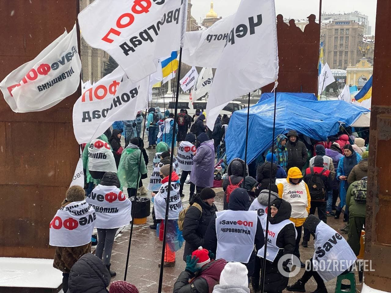 Мітингувальники на Майдані.