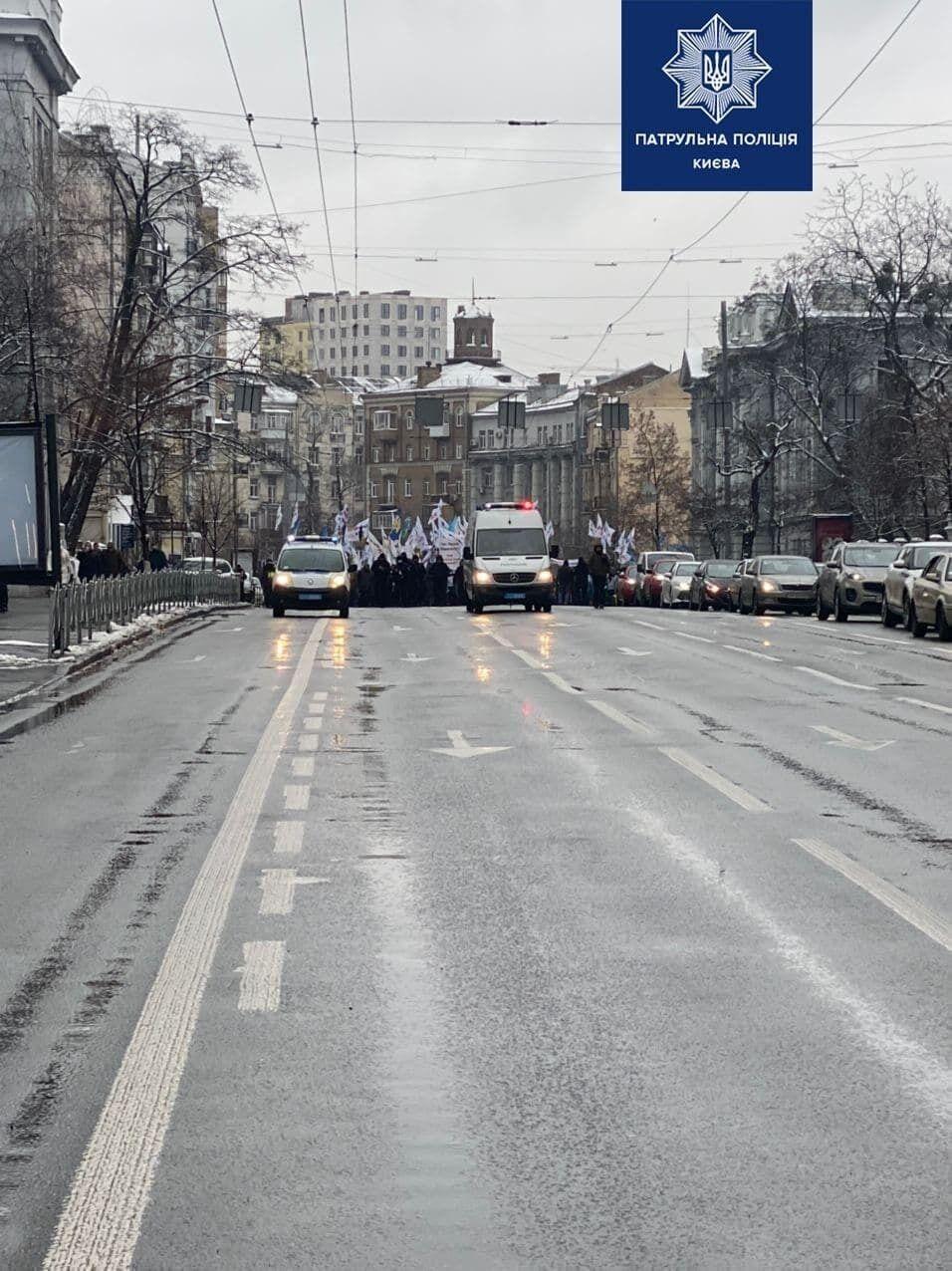 Митингующие на улице Саксаганского.