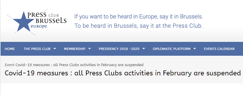 Скриншот сайту Press Club Brussels Europe