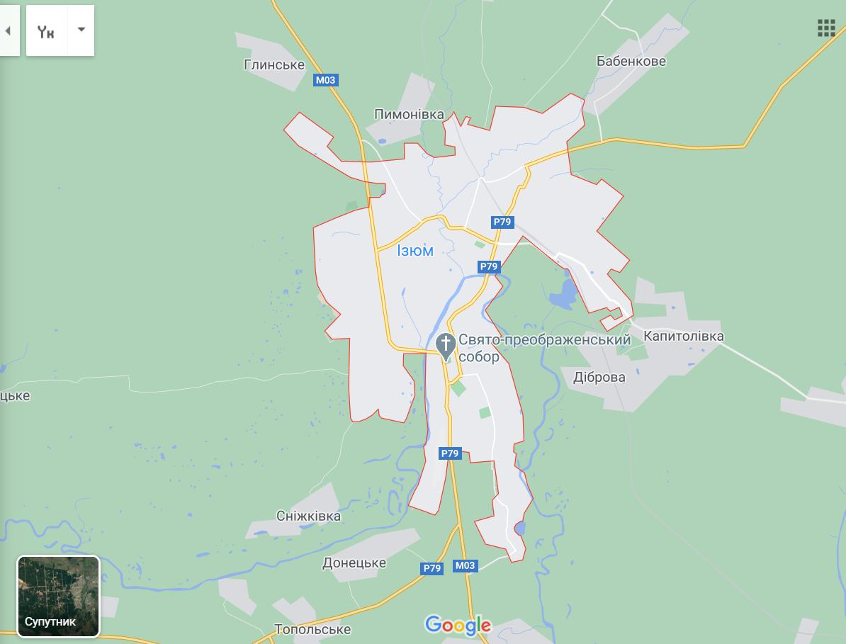 Карта Ізюма на Харківщині