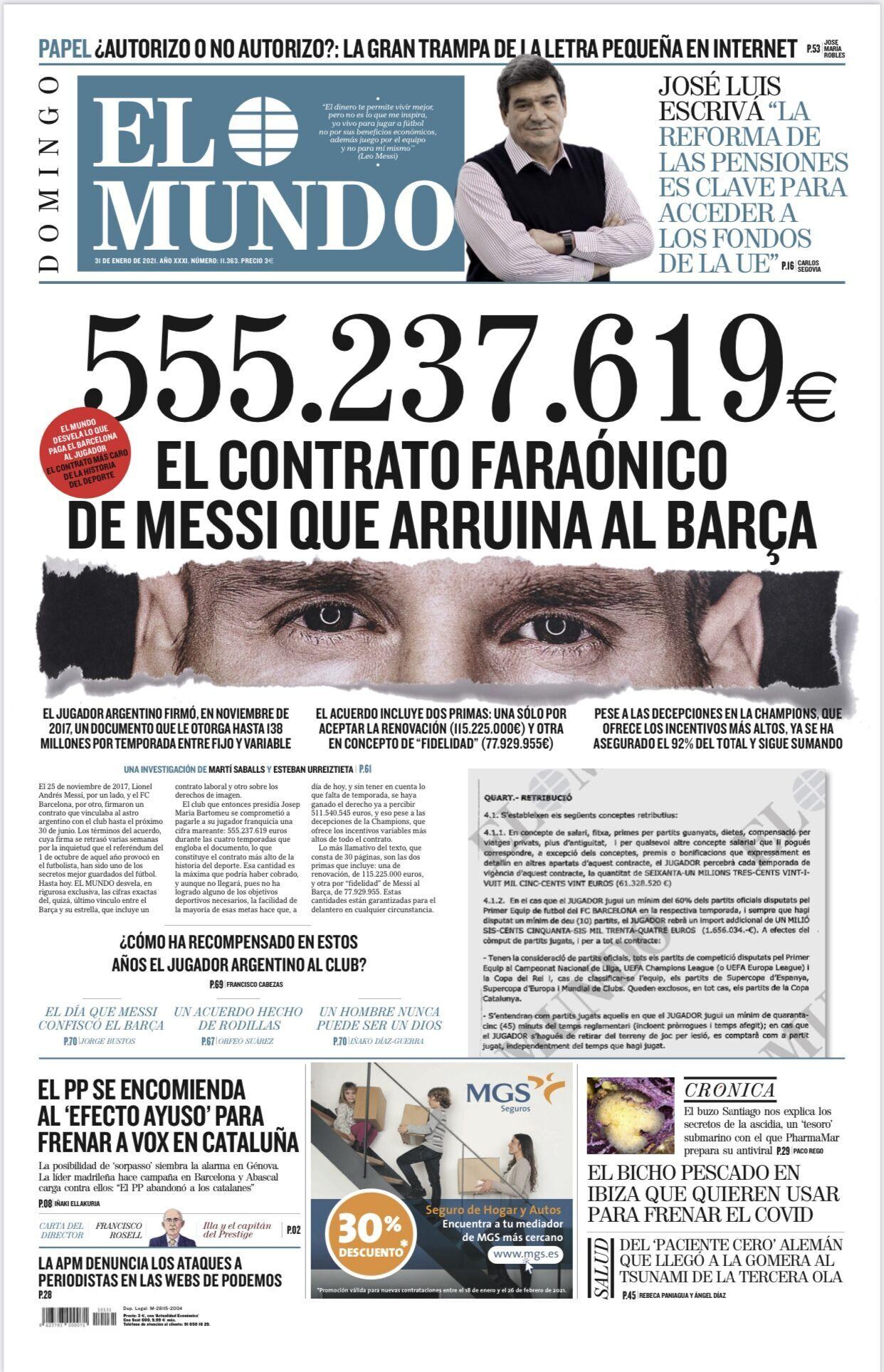 Обложка газета El Mundo