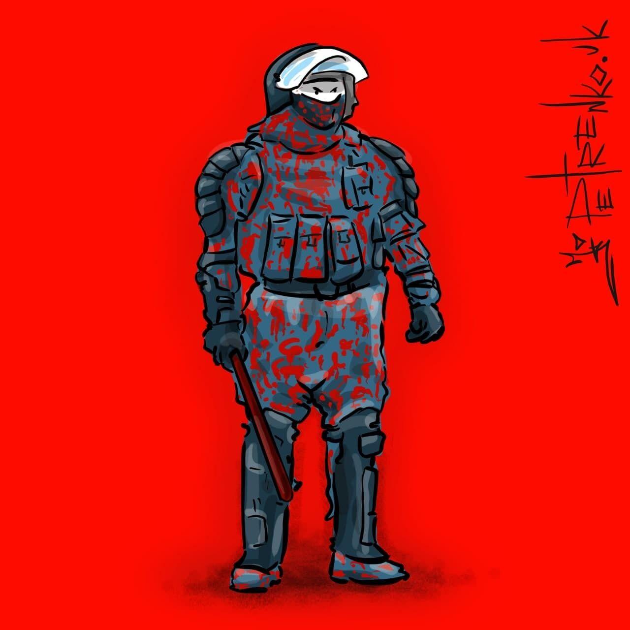 Карикатура на массовые задержания в России.