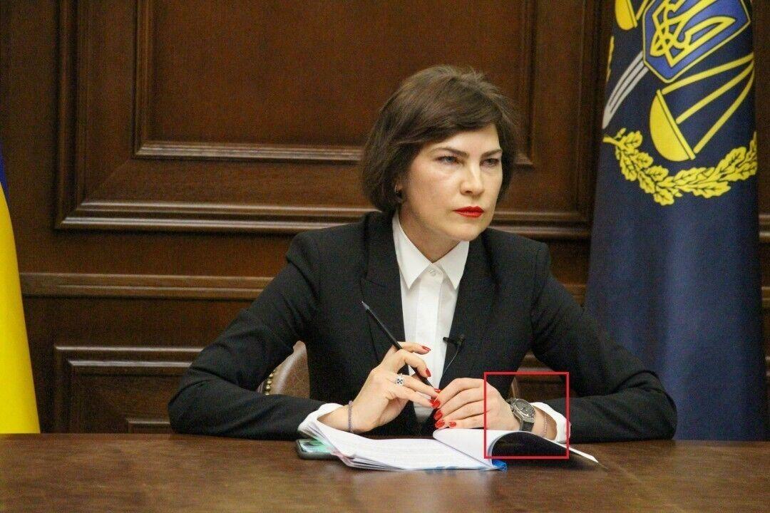 Ирина Венедиктова в черном костюме и с часами Hublot.