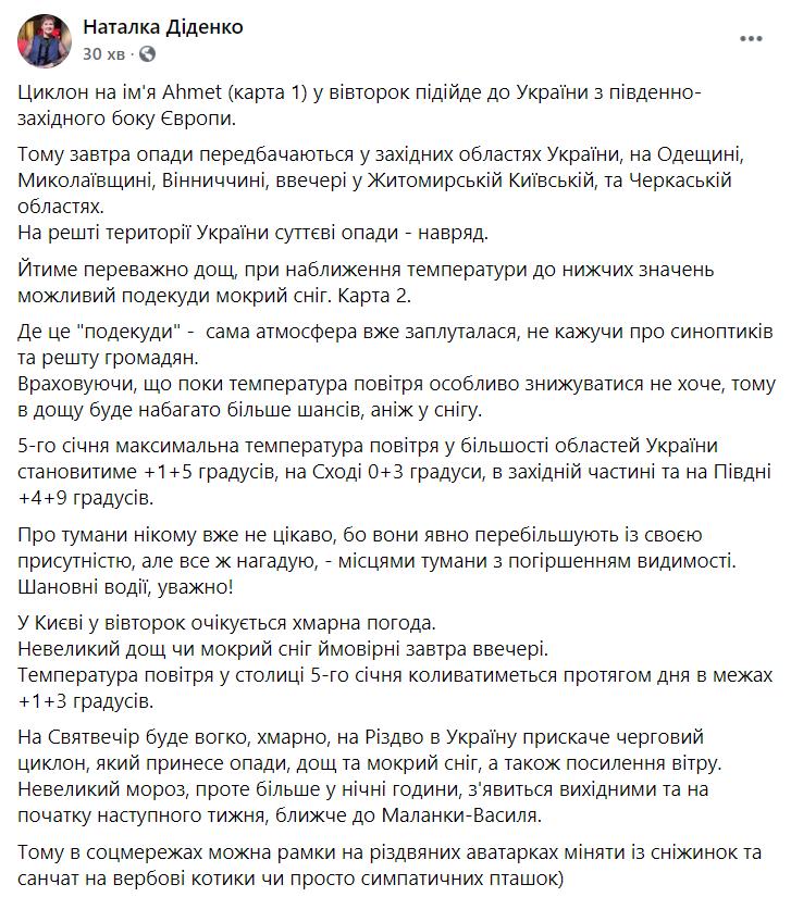 Публікація Діденко у Facebook