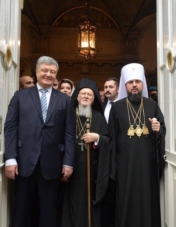 Петр Порошенко, Патриарх Варфоломей, митрополит Епифаний