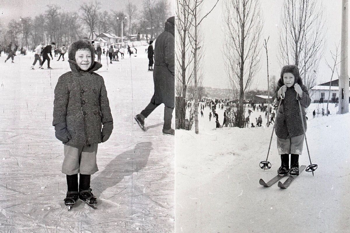 Маленькие киевляне во время катания на коньках и лыжах в 1964-м