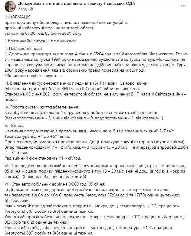 Сводка Львовской ОГА об оперативной обстановке в области